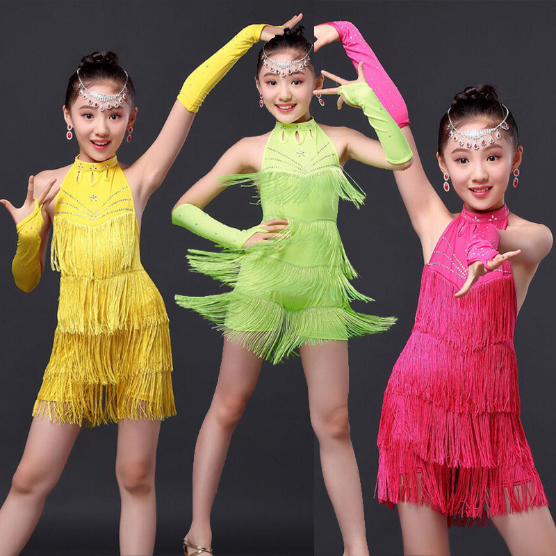 fa40186a6 Red Green Girls Sequined Latin Salsa Tassels Dancing Dress Kids ...