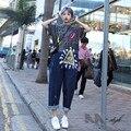 [XITAO] новый летний HK случайный характер граффити короткий рукав совместное denim свободной форме пят джинсовые женские комбинезон, CKB-002