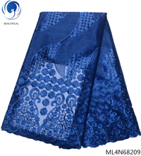 BEAUTIFICAL royal blue african mesh lace fabrics embroidered 2019 latest flower pattern french net fabric ML4N682