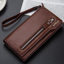 цены High Quality Pu Leather Long Wallet For Men Black Fashion Phone Credit Card Holder Coin Purses Business Clutch Cowhide Black