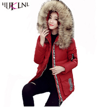HIJKLNL camperas mujer 2017 Winter Thick Warm Jacket and Coats with Fur Hood for Women Plus Size 5XL Letter Cotton Parkas NA168