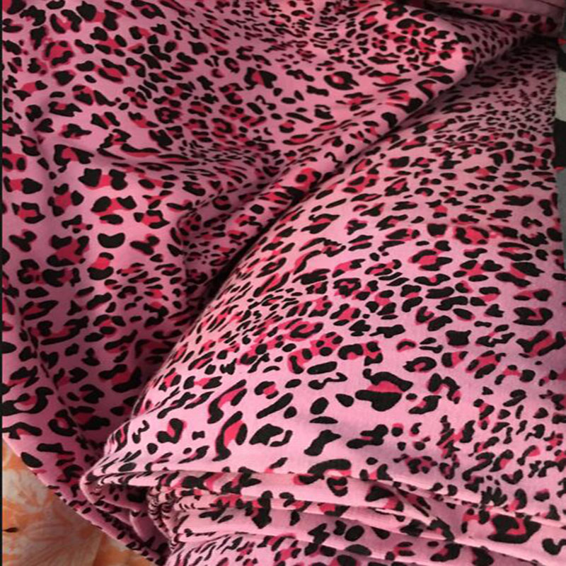 Good Pink Leopard Fabric Cotton Lycra Knitted Stretch Dot Print Diy Patchwork Sewing Autumn Clothing In From Home Garden