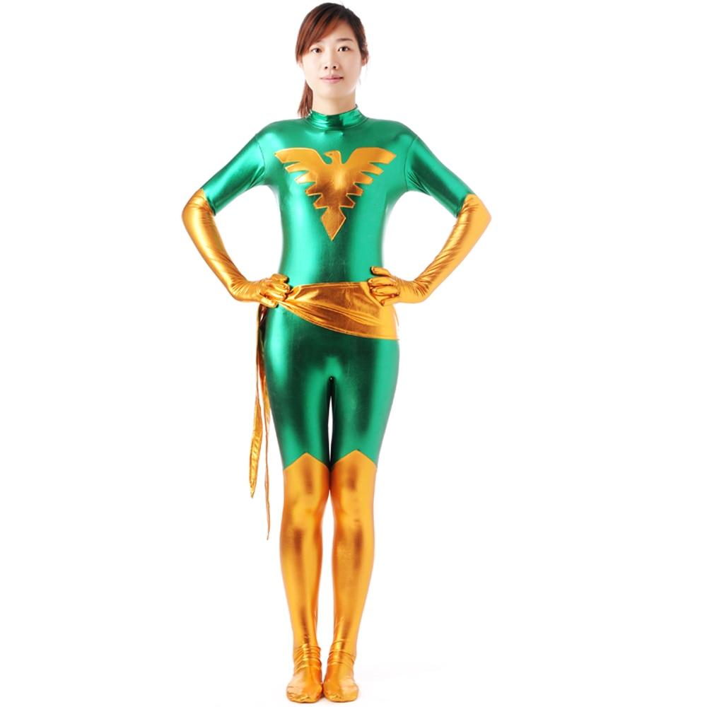 x men costume marvel girl costume superhero cosplay green phoenix zentai shiny metallic bodysuit halloween costumes - Halloween Costumes In Phoenix