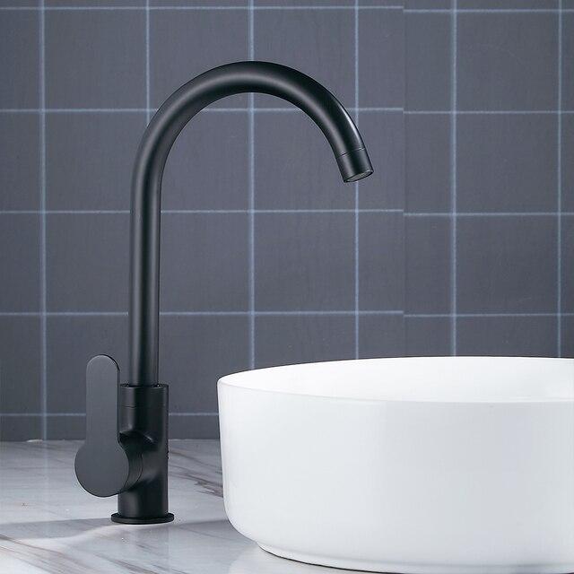 Modern Basin Faucets Black Sink Mixer Taps Kitchen Bathroom Taps