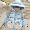 Lovely baby girls cotton padded jacket Light blue lace hooded cotton coat  Baby winter clothes 0-24 mo