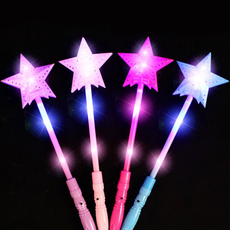 1pcs Star LED Toys 3 Modes Luxury LED Magic Star Wand Flashing Light Up Glow Stick For Party Christmas Colorful Light-Up Toys