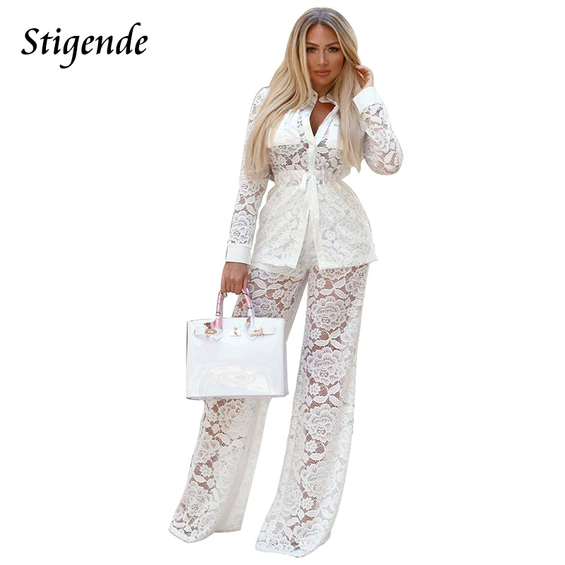 bce0f548960 Stigende Womens Casual Two Piece Pants Set White Lace Mesh Long Sleeve  Button Top and Wide