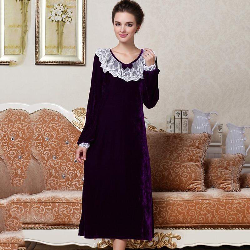 Autumn Long Sleeve Noble Nightdress Women Velvet Lace Comfortable Princess Sleepwear Homewear Nightgown Sleepdress For Lady