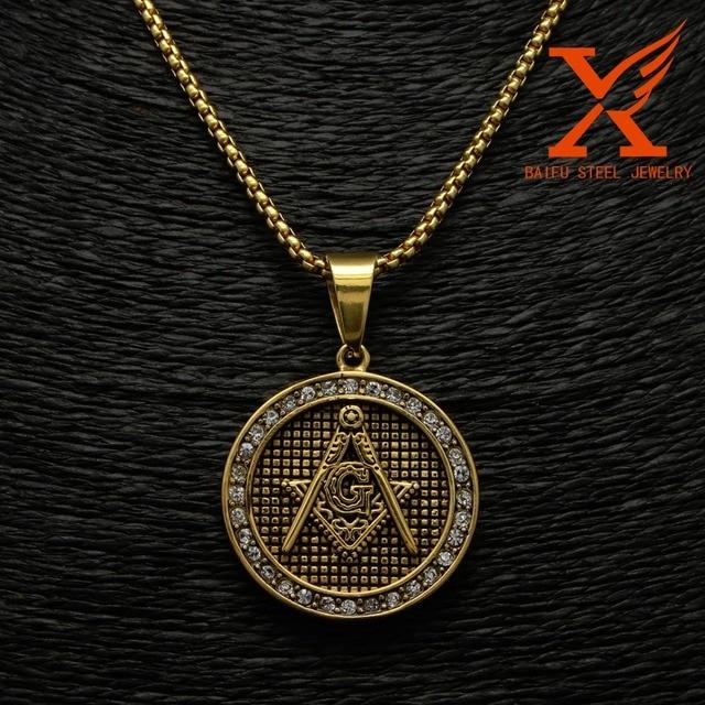 Stainless Steel Black Gold Silver Freemason Masonic Pendant Necklace