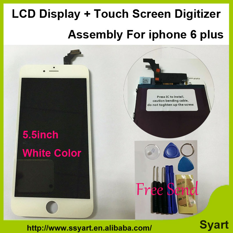 1 piece White color lcd 5.5inch Screen no dead pixel Display LCD Digitizer Assembly made in China AAAA quality For iPhone 6 plus