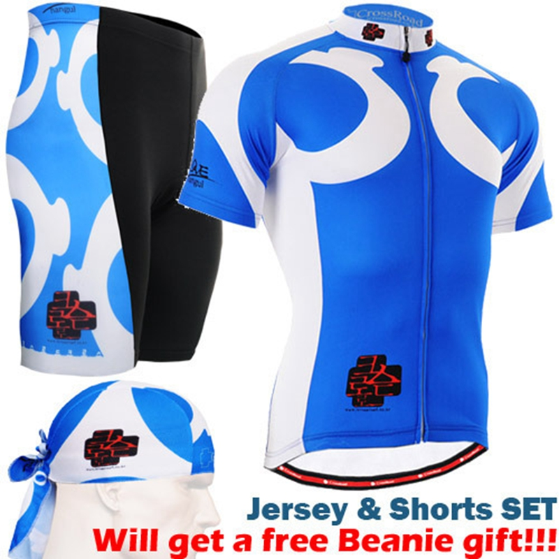 Brand New Cycling Jersey Set Blue Short Sleeve sets for Summer Polyester Fabric Quality Guarantee Cool bike riding wear 176 top quality hot cycling jerseys red lotus summer cycling jersey 2017s anti uv female adequate quality sleeve cycling clothin