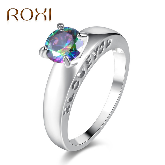 roxi round cut engagement rings i love you 4 prongs white gold color crystal - Rainbow Wedding Rings