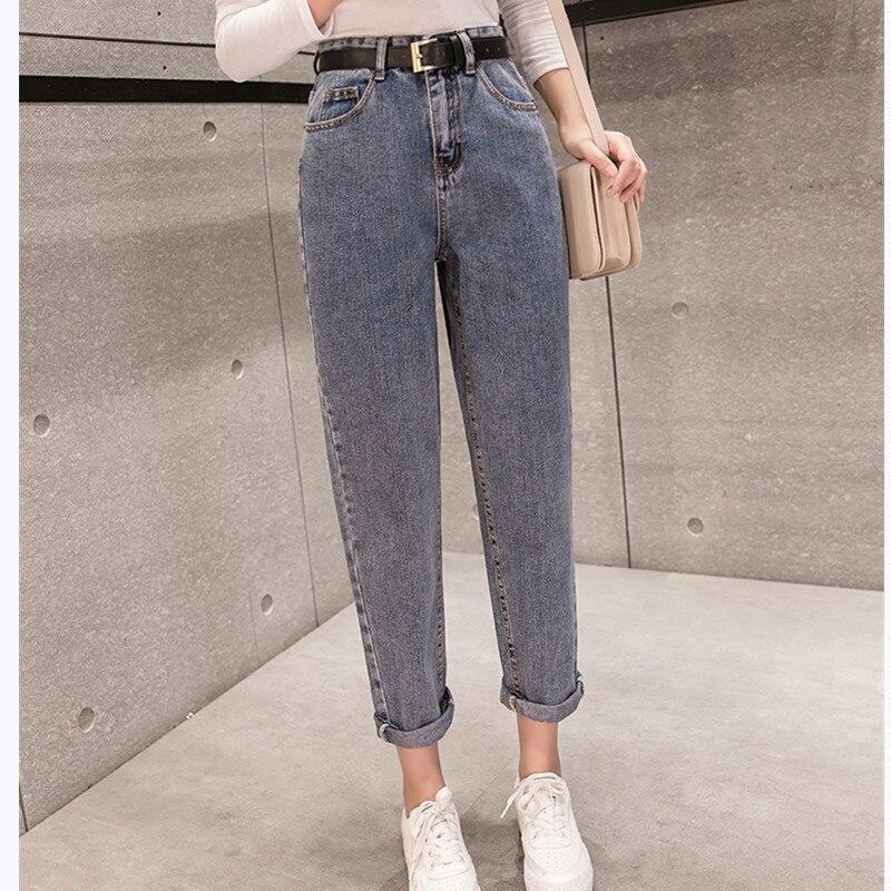 JUJULAND 2019 Spring Clothes Ladies High Waist Female Boyfriend Jeans with a tight waistl Denim Ripped Jean Woman Plus Size 971