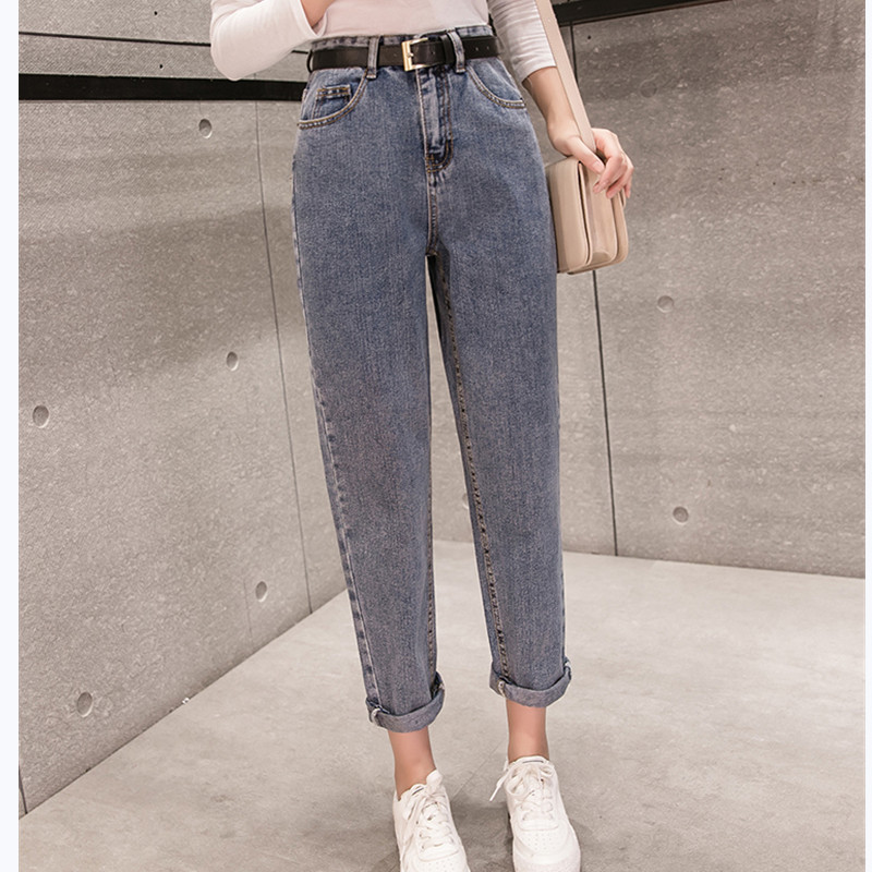 JUJULAND 2019 Spring Clothes Ladies High Waist Female Boyfriend   Jeans   with a tight waistl Denim Ripped   Jean   Woman Plus Size 971
