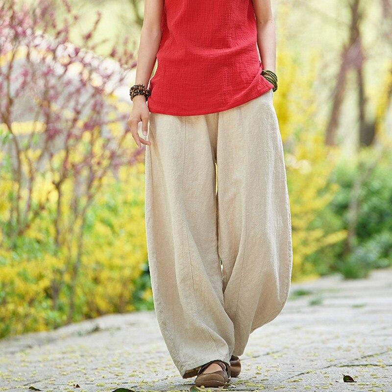 Johnature Summer Solid Color Pockets Loose   Pants   2018 New Women Vintage Elastic Waist Cotton Linen   Wide     Leg   Full Length   Pants