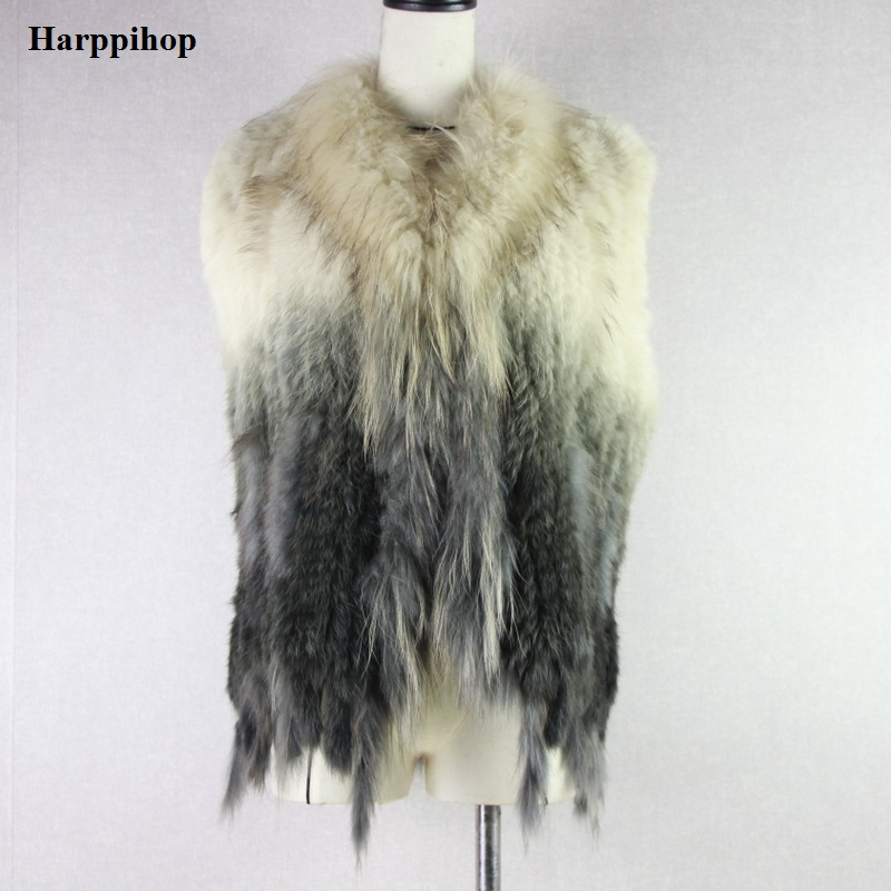 Womens natural real rabbit fur vest with raccoon fur collar waistcoat/jackets rabbit knitted winter
