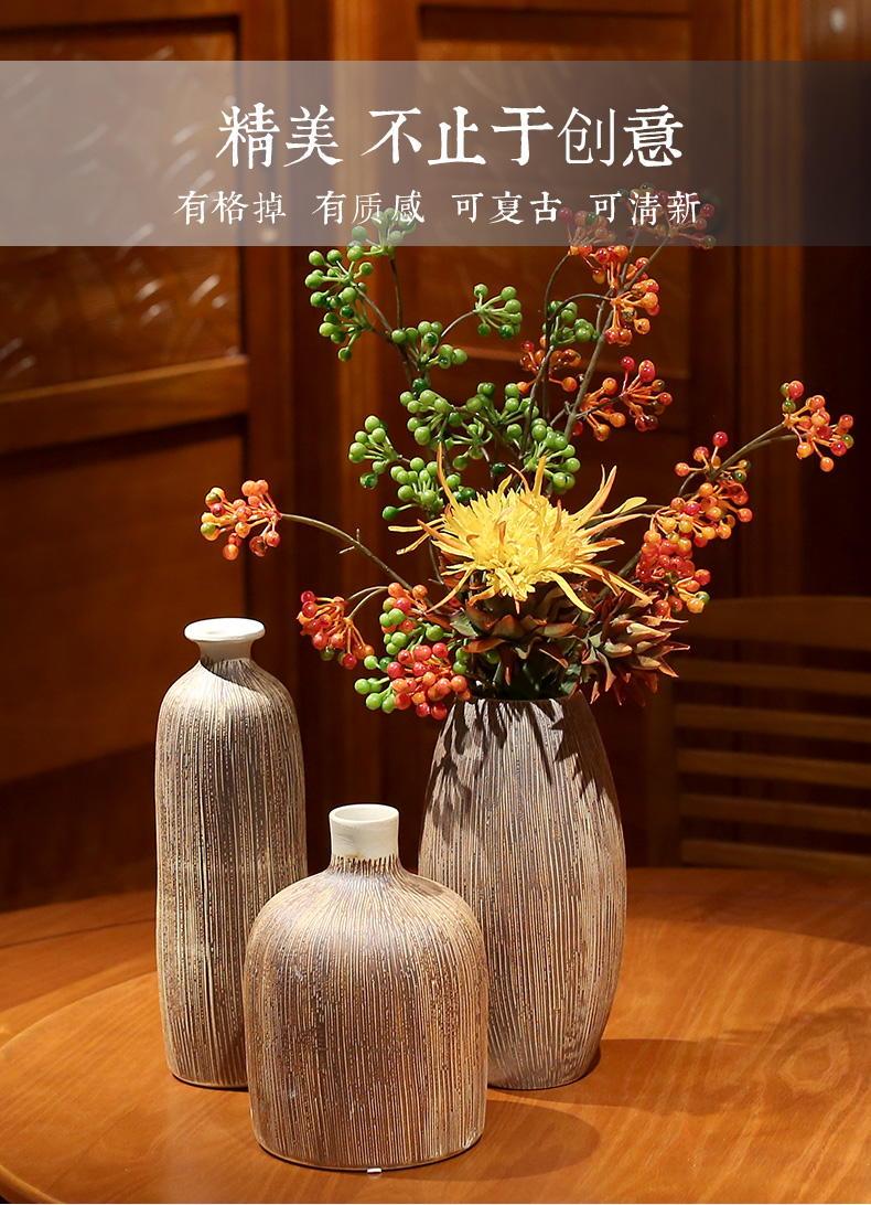 Vintage Vase Ceramic Stoneware American Living Room Coffee Table Decorations Ornaments Flower Arrangement Dried Flowers Pottery Vase Ceramic Vintage Vasevase Vintage Aliexpress