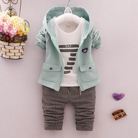 Baby Boy Clothes 2017 Hot Sell Full Sleeved Glasses Shirts Gray Stripe Pants 2PCS Outfits Kids
