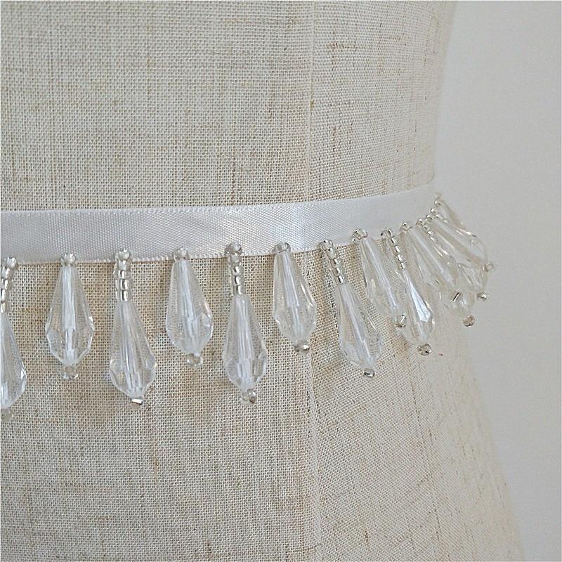 Handmade Beaded Ribbon Crystal Beaded Pendant Drops Lace Trim Fur Sweater Jeans Lace Ornament Accessories Dress Belt