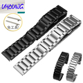 20 | 22mm Accesorios Reloj Nuevo Repalcement Silver Solid Stainless Steel Watch Band para Ticwatch 42 | 46mm moto360 Hebilla de Mariposa