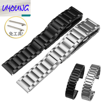 20|22mm Watch Accessories New Repalcement Silver Solid Stainless Steel Watch Band  for Ticwatch 42|46mm moto360 Butterfly Buckle