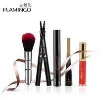 FLAMINGO High Quality Makeup Kit 5Pcs Mascara Eyeliner Liquid Eyebrow Pencil Lip Gloss Makeup Brush Makeup