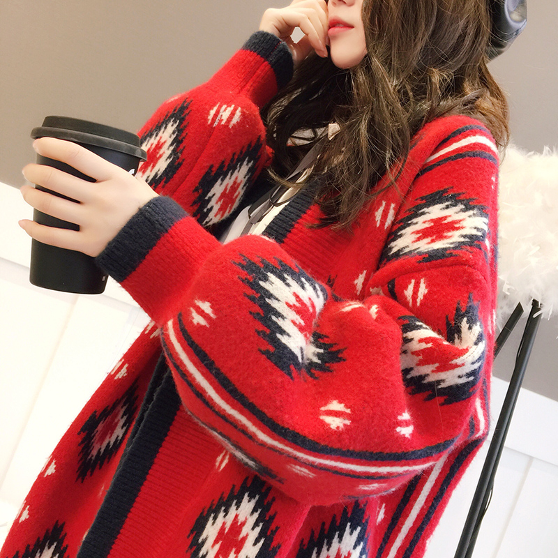2018 новый зимний женский утепленный Длинный свободный свитер кардиган пальто весенний красный свитер Рождественская Верхняя одежда Куртка Топы