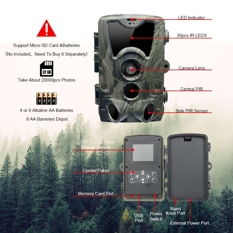 Image 4 - Hunting Camera 16MP Trail Camera Night Version  Ip65 Wildlife Surveillance Camera Chasse Scouts GSM HC801A hunter-in Hunting Cameras from Sports & Entertainment
