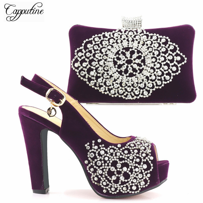 Capputine Latest African Matching Shoe And Bag Set Italian In Women High Quality African Wedding Shoes And Bag Set For Wedding fashion italy design italian matching shoe and bag set african wedding shoe and bag sets women shoe and bag to match tmm1 41