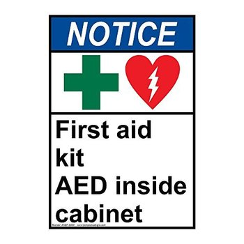 ZJY Notice First Aid Kit Aed Inside Cabinet Vintage Metal Signs Bar Poster Home Decor for Coffee and Shop Size:20*30cm signs