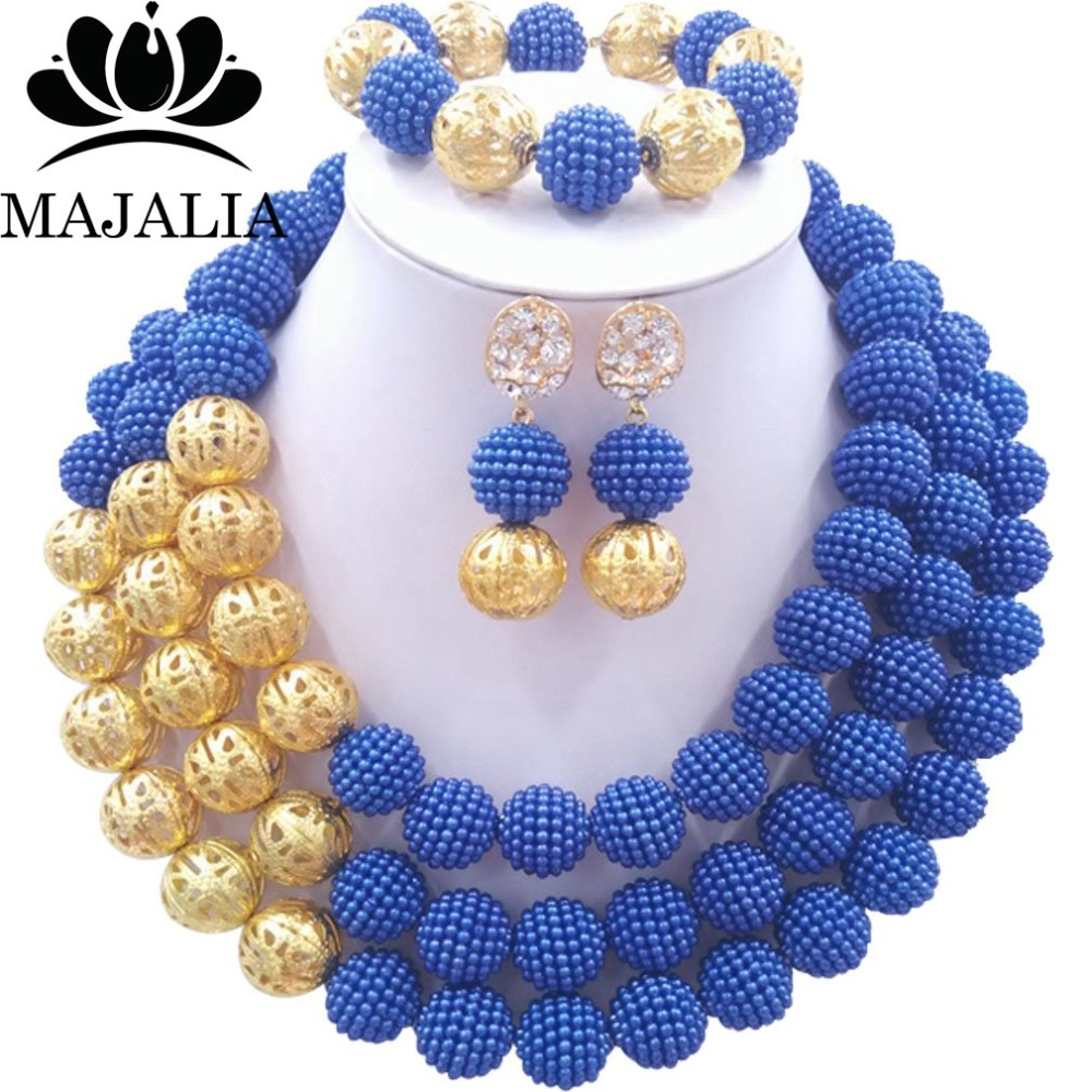 Majalia Fashion Nigerian Wedding African Jewelery Set Royal blue Crystal Plastic Pearl N ...