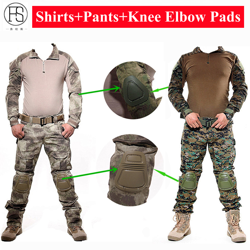 Military Uniform Army Combat Shirt Tactical Hunting Clothes Camouflage Suit Woodland Paintball Frog Set Airsoft Sniper With Pads combat army uniform emerson tactical frog suit shirt