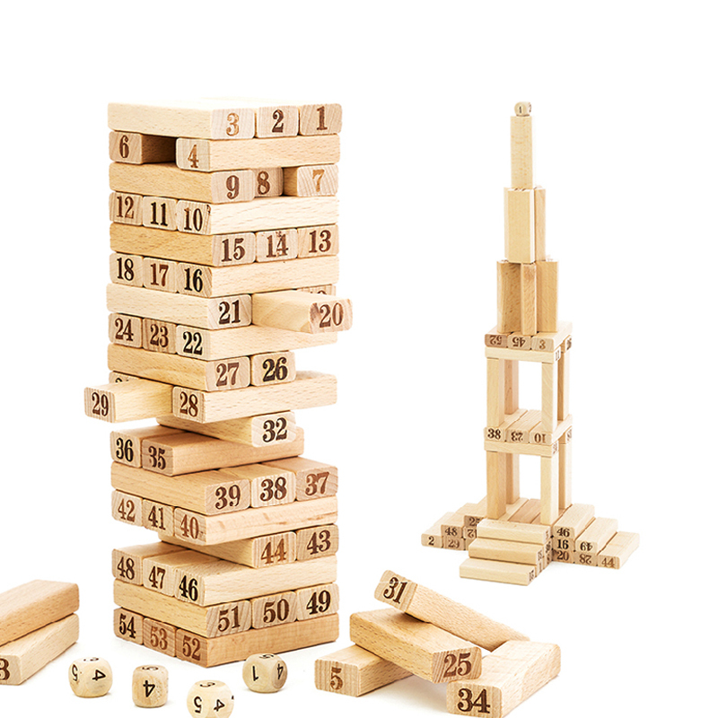 54Pcs children Wooden Tower wiss toys/ Kids wood Number Building Blocks/ Christmas gifts/ Educational Toy  fast shipping English baby educational wooden toys for children building blocks wood 3 4 5 6 years kids montessori twenty six english letters animal