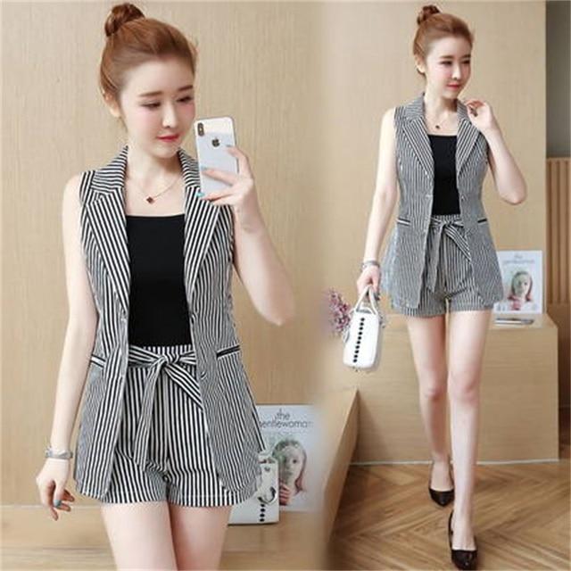 36836b86e7 US $31.36 30% OFF|2018 summer new Korean women ladies fashion clothes three  piece Hong Kong flavor qualities ocean summer shorts suit tide -in Women's  ...