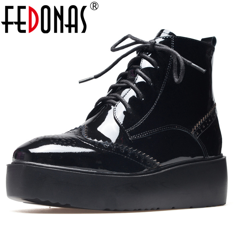 FEDONAS Sexy Punk Women Martin Shoes Wedges Heels Lace Up Round Toe Motorcycle Boots Female Platforms Short Basic Boots