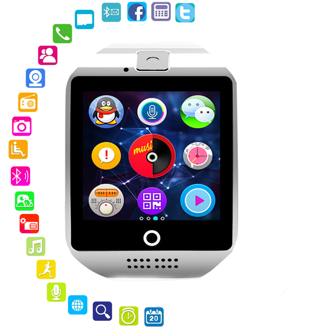 Electronic Watch Q18 Smart Watches With Touch Screen Camera Support TF Card Blue