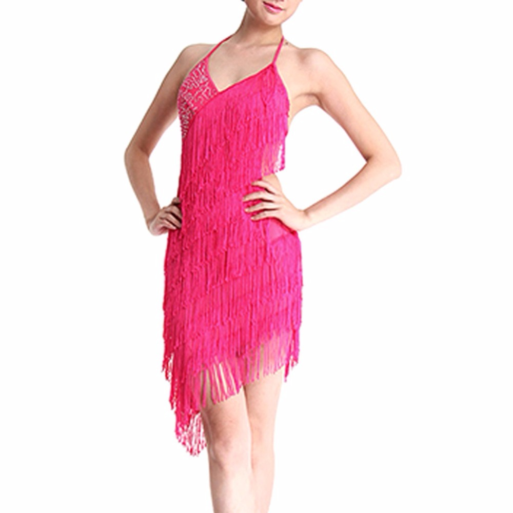 84cc589a1 Fashion Women Latin Dance Dress Tassel Fringe Sequins Decorate Backless Latin  Dancing Dresses-in Latin from Novelty & Special Use on Aliexpress.com ...