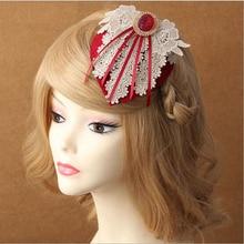 Lace Flower Bride Wedding Tassels Small Top Hat Side Clamping Headwear Hairpins Vintage Hair Accessories