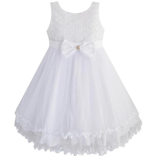 5e3b5d87e01 Girls Dress White Pearl Tulle Layers Wedding Pageant Flower Girl Kids 2018  Summer Princess Party Dresses Size 2-10