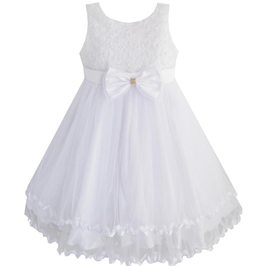 Sunny Fashion Girls Dress White Pearl Tulle Layers Wedding Pageant Flower Girl Kids 2018 Summer Princess Party Dresses Size 2-10 sunny fashion girls dress watermelon tiered flower dance ball princess 2017 summer wedding party dresses clothes size 5 10