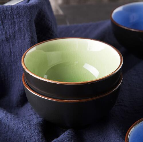 KINGLANG 1pc Japanese ice glazed ceramic bone china bowl household kitchen eating soup rice bowl creative kitchen products