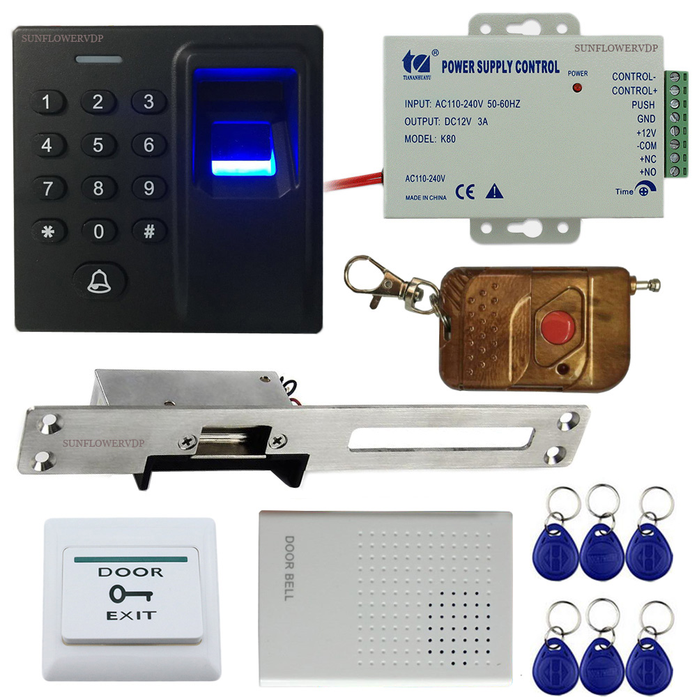 Fingerprint Rfid Code Access Control System + European Narrow-Type Electric Strike Lock+Wired Door Bell+Wireless Remote Control rfid door access control system remote control electric strike lock kit set with electric strike lock remote control door bell