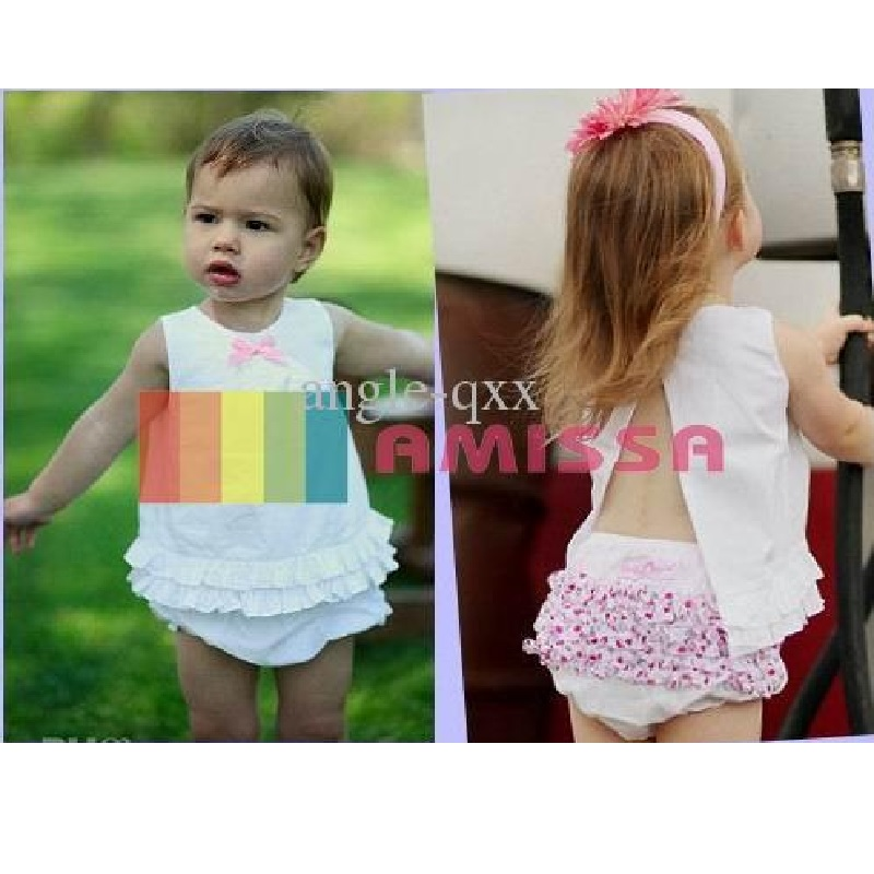 2017 Fashion White Angel Baby Clothes Sets Tank Top Girl Baby Clothing Lace Shorts Girls Summer Clothing Pant Blouse girl Jumper