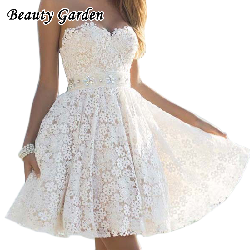 Beauty Garden Women Solid Vintage Dress For Party Sexy Strapless Lace Up Fashion Dress For Women White Leisure