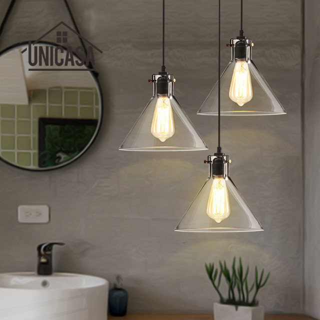 Clear Glass Shade Pendant Lights Industrial Lighting Fixtures Kitchen Island Office Hotel Antique Mini Pendant Ceiling Lamp