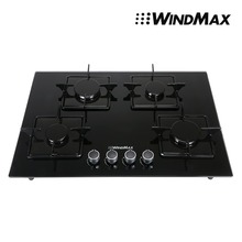 Euro 28 inch BlackTempered Glass 4 Burners Built In Stove NG Gas Cooktop Cooker