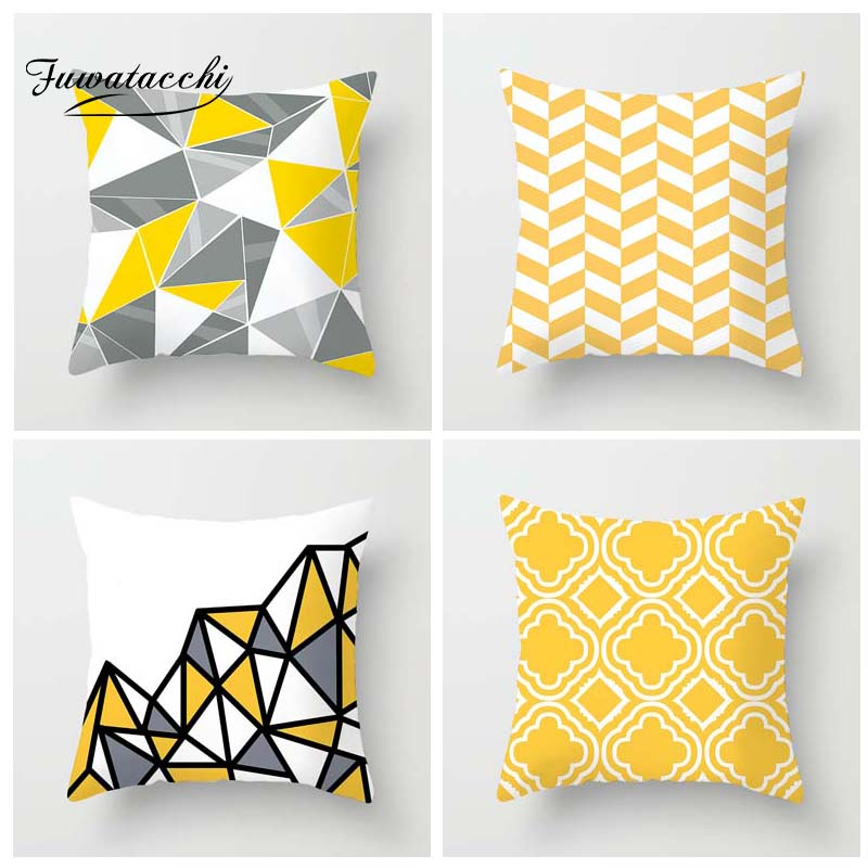 Fuwatacchi Geometric Style Cushion Cover Ripple Diamond Printed Pillow Cover Yellow White Decorative Pillows For Sofa Car