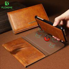 Floveme кожаные сумки обложка для iphone 7 6 6s плюс магнитный кошелек case for samsung s7 s7 edge s8 s8 плюс адсорбции телефон оболочки