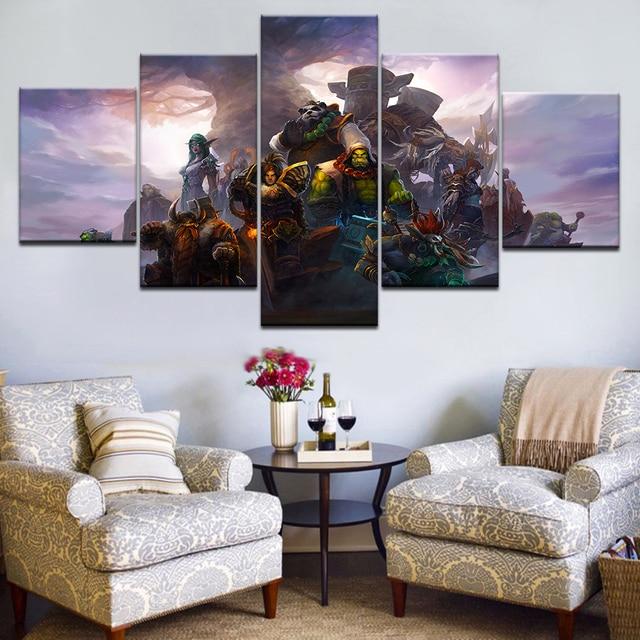 Canvas Oil Printed Painting 5 Panel Wall Art Picture DOTA 2 Vengeful Spirit Modular Artwork Framework For Living Room Bedroom 1