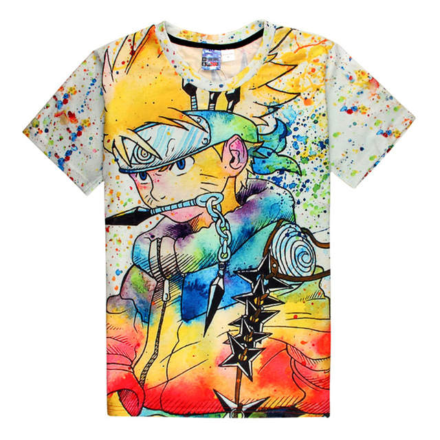 Unique Naruto Painting Graffiti Style Full 3D Print T-shirt Cotton Unisex Tee Shirts Anime Casual Homme Loose Tops Ninja Way